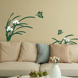 浪漫屋 〖兰花小草1-092〗客厅沙发背景 唯美时尚墙贴 贴纸 墨绿草