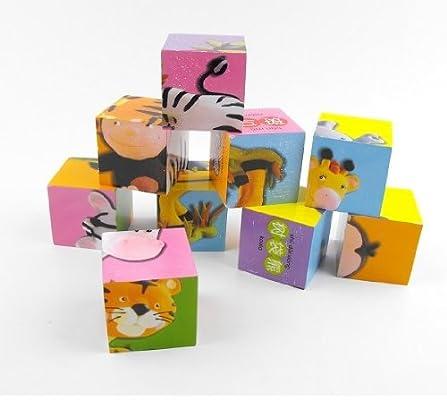 易知伢 儿童卡通 木制六面画9粒方块积木立体拼图益智