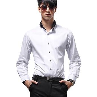 高档男士长袖休闲白色衬衣