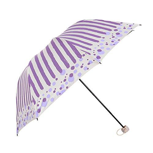 du清新手绘条纹遮阳伞黑胶防晒防紫外线折叠太阳伞创意三折女士晴雨伞