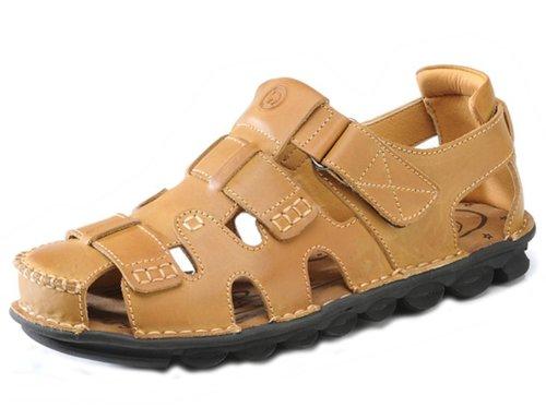 Camel 骆驼 时尚英伦超酷潮男包头户外凉拖 舒适透气休闲鞋 头层牛皮手工凉鞋 真皮沙滩凉鞋 男鞋