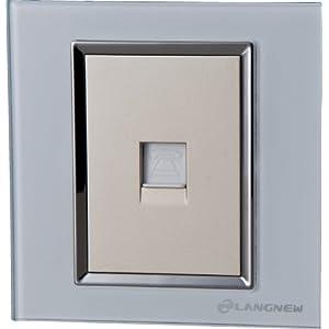 LANGNEW朗新轻点系列网络玻璃插座(珍珠白)LN-Q001PC-PW
