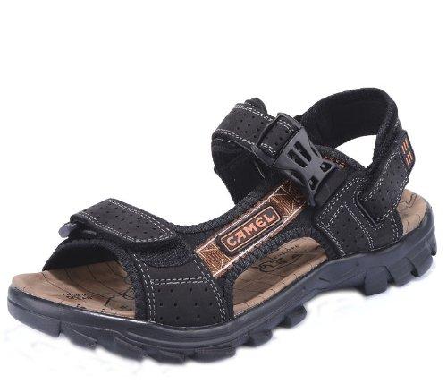 Camel 骆驼 时尚超酷潮男户外凉拖 舒适透气沙滩鞋休闲鞋 头层牛皮手工凉鞋 真皮沙滩凉鞋 男鞋