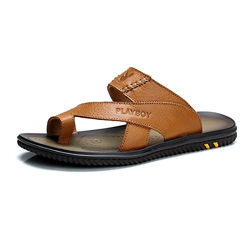 PLAYBOY 花花公子 男士时尚平底真皮凉拖鞋 夏季新款正品牛皮防滑套趾拖鞋凉鞋沙滩鞋