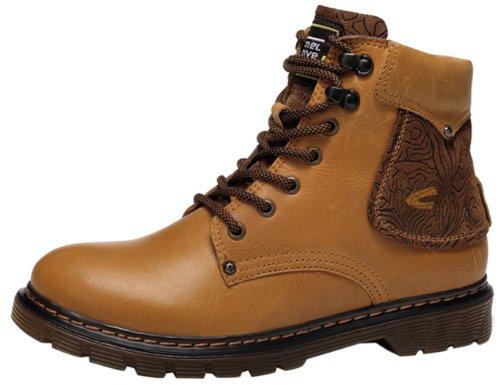 Camel 骆驼 高帮鞋男式靴子工装靴 潮流真皮鞋子男靴正品马丁靴