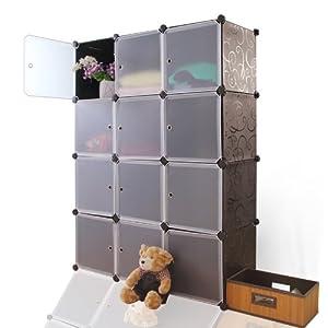 蔻丝 组合式12格简易衣柜韩式宜家宝宝衣橱 免工具安装 奢侈大黑