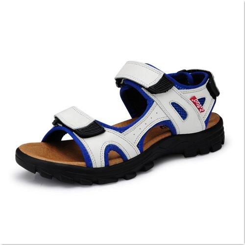 Z.SUO 走索 夏季新款男鞋 男士正牛皮休闲凉鞋白色0163