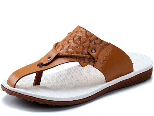 G.N.SHIJIA 公牛世家 夏季新款英伦夹趾真皮休闲人字拖 男士牛皮透气沙滩鞋皮凉鞋男鞋凉拖鞋
