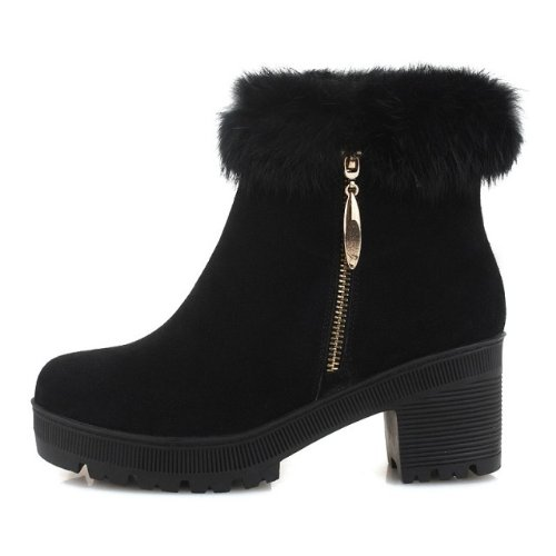 约修亚 女靴2013冬季新款 真皮高跟 防水台粗跟骑士短靴女KX18189
