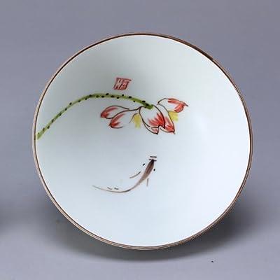 手绘粉彩 莲鱼碗杯 品杯