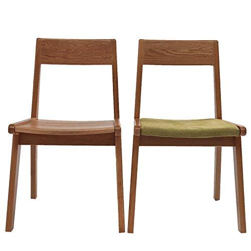 白橡木椅子 软包餐椅 实木家具 原木色(包装内含2把椅子) (实木坐板餐