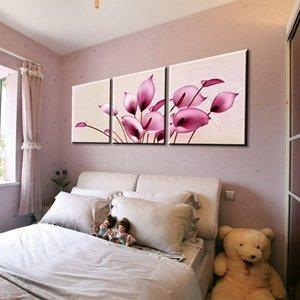 煌巢尚品 装饰画客厅卧室挂画 纯手绘油画 三联一套马蹄莲无框画 壁画