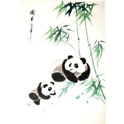中国画---手绘托裱绢画中国国宝熊猫(因为手绘每幅都