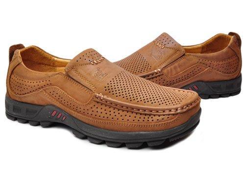Camel 骆驼 轻便舒适冲孔透气头层牛皮休闲鞋 男 男户外鞋 A2315004 浅棕 brown