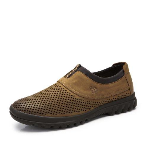 Camel 骆驼 男鞋 夏季新款时尚男款皮鞋 日常休闲舒适透气压花皮系带男鞋A422213004