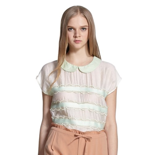 ochirly 欧时力 女式 甜美学院风衬衫 1132011330010