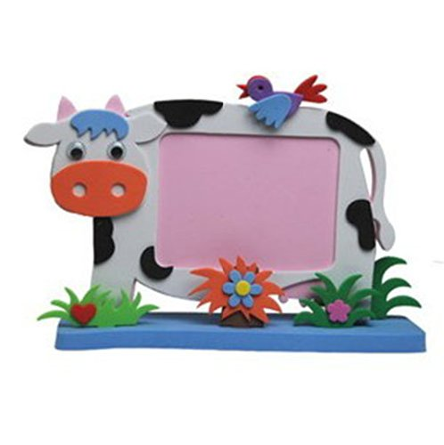 eva手工制作 立体动物相框 儿童diy创意手工粘贴相框画diy手工 奶牛