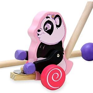 智立方儿童音乐玩具熊猫打锣拖拉手推车 益智玩具 宝宝学步必备 we