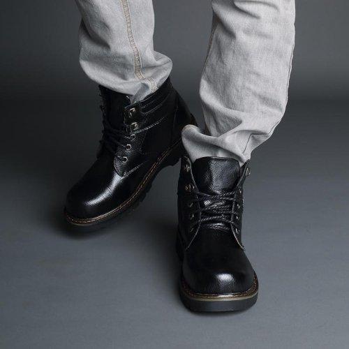 Yulu 优牛 秋冬时尚工装男靴潮流硬汉真皮军装雪加绒保暖棉鞋英伦休闲男鞋棉鞋