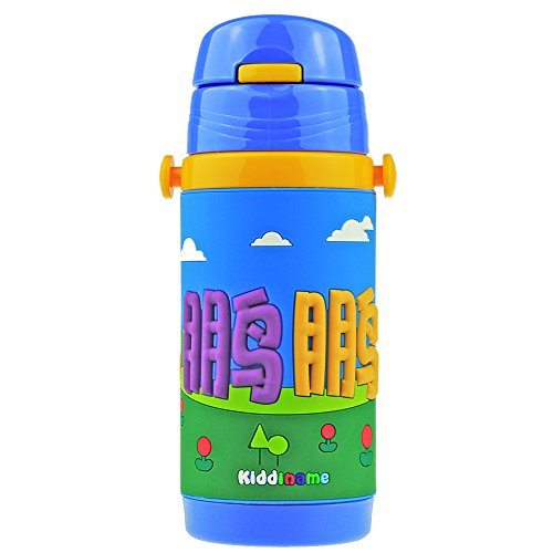 英国kiddiname恺迪乐 儿童水杯双层不锈钢个性无菌真空保温水壶带吸管