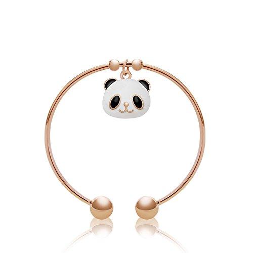 珠宝 karen tiya 熊猫头手镯手链 女韩版宽手镯 时尚皮绳 水晶韩国