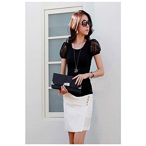 VIEWAKEN 夏装新款韩版大码时尚百搭短袖女T恤蕾丝袖拼接修身打底衫 F L - 1F - A1002#8853