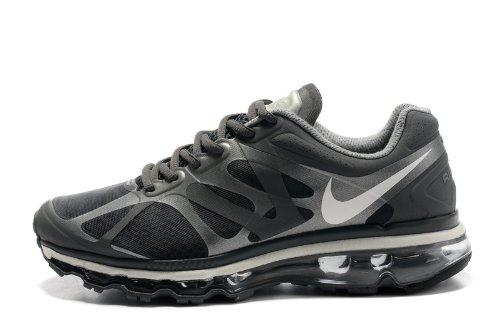Nike 耐克 Air Max 2012 系列 后掌气垫 网面 透气 缓震 抓地 男子休闲运动鞋 炭灰银 487982-010