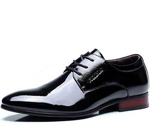 FUGUINlAO 富贵鸟 英伦男士复古系带低帮正装鞋皮鞋 透气经典真皮商务休闲鞋 头层牛皮亮面男鞋子