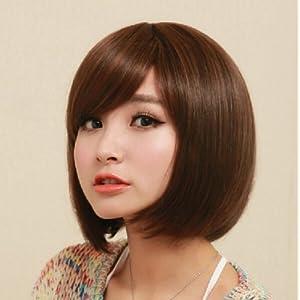 女短发假发bobo头苛苛蓬松短假发 女生修脸斜刘海假发套 (深棕)图片