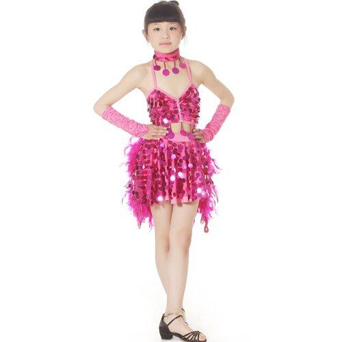 儿童拉丁舞服装鸡毛裙
