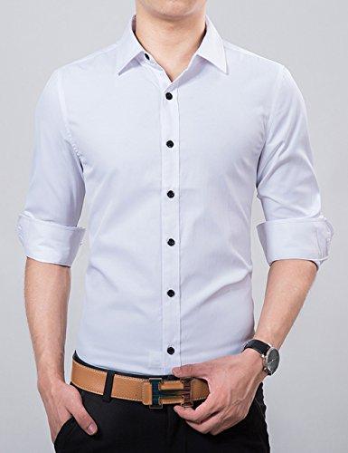 UYUK 男士长袖衬衫 商务休闲男式纯色衬衣 韩版修身潮流春秋季男装 XZ6586