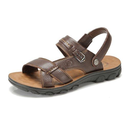 Camel 骆驼牌正品 2014夏季新款 休闲男鞋真皮男士沙滩鞋 牛皮复合底凉鞋子 W422211027