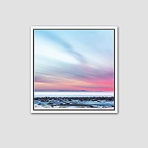海边夕阳风景装饰画客厅三联画现代挂画沙发墙画壁画 b款(简约白框)
