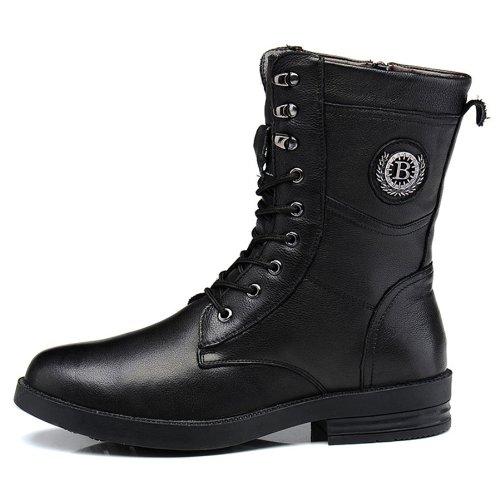 FGN 富贵鸟 冬季正品真皮英伦韩版筒靴 保暖纳帕纹真牛皮靴子