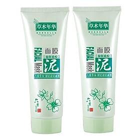 草木年华六重草本深层清洁面膜绿泥祛痘180g 2 双包装 化妆
