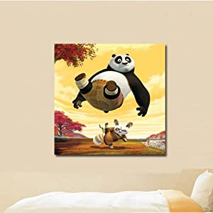 美时美刻 卡通动物壁画功夫熊猫儿童房装饰画宝宝房间