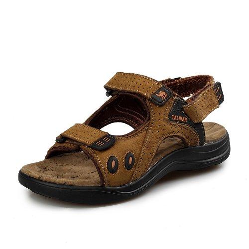 台湾骆驼 TAIWAN CAMEL 韩版时尚男凉鞋 男士真皮凉鞋 头层牛皮凉鞋子 沙滩鞋 运动沙滩鞋 男鞋子