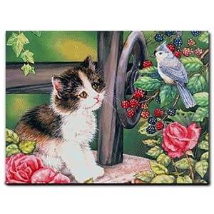 阿卡手工 十字绣动物 可爱 炫彩猫咪戏鸟图