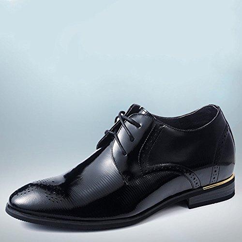 Gog 高哥 增高鞋男式6cm布洛克皮鞋亮面男士隐形内增高男鞋漆皮秋季