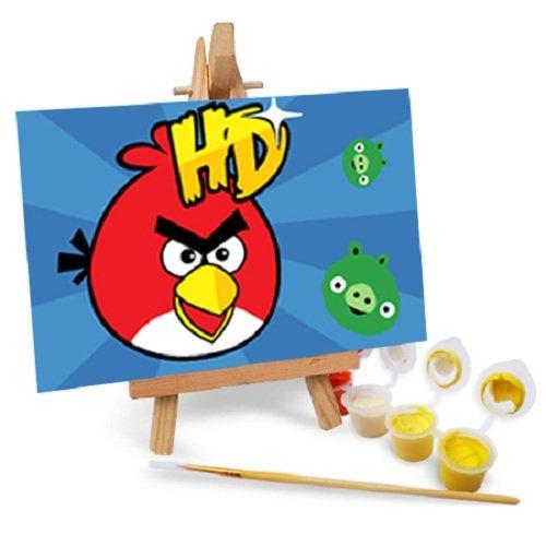 自油自画 diy手绘数字油画特价 卡通带画架多款 愤怒的小鸟(一) 10x15