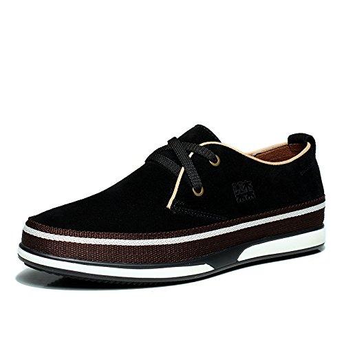 木林森(MULINSEN)秋冬新款男鞋真皮英伦反绒透气时尚内增高休闲Q21430板鞋
