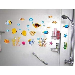 热带鱼水草 即时贴墙贴纸浴室玻璃飘窗背景墙饰移门家居装饰