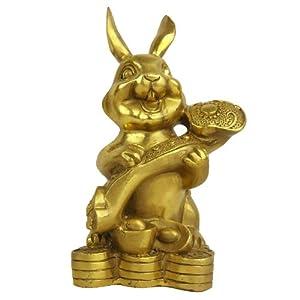 十二生肖如意兔摆件家居古典风水工艺品铜兔装饰摆设 招财如意