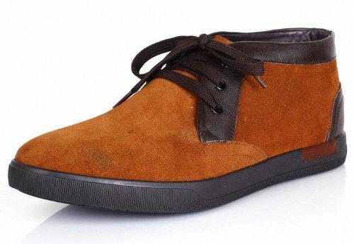 意尔康 韩版时尚男鞋圆头系带磨砂皮皮鞋日常休闲男单鞋高帮鞋