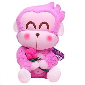 正版可爱39cm粉色抱玫瑰花猴子毛绒玩具