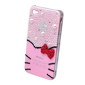 苹果 iphone4 4S晶城之恋 胡须kitty猫蝴蝶结珍珠外壳 手机壳 (珍珠粉色)