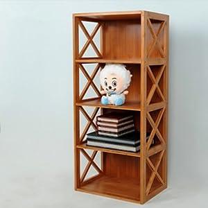 品生美 儿童书柜楠竹柜子收纳储物柜自由组合书架简易书橱 4层柜