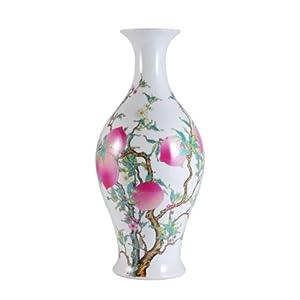 长物居 高仿雍正 手绘粉彩福寿橄榄瓶 景德镇手工仿古瓷器花瓶 40CM