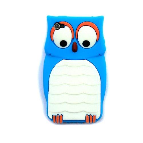 爱文卡仕 苹果 iphone 4 4g 手机壳 手机套 硅胶猫头鹰 天蓝色   屏保