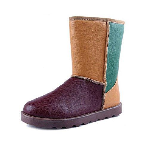 回力 雪地靴防水皮靴冬款筒靴英伦拼色保暖棉鞋2033
